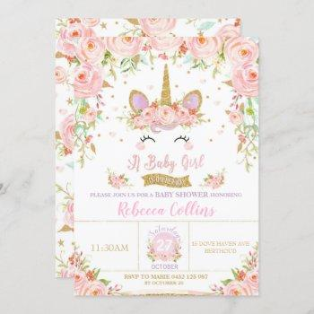 Floral Pink Unicorn Baby Shower  Girl