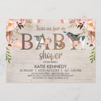Floral Rustic Farm Animals Baby Shower Invitation