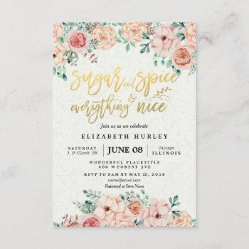 Floral Sugar & Spice & Everything Nice Baby Shower Invitation