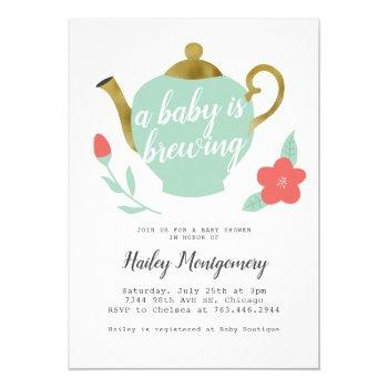 Floral Tea Party Baby Shower Baby Is Brewing Invitation
