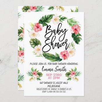 Floral Tropical Wreath Baby Shower Invitation