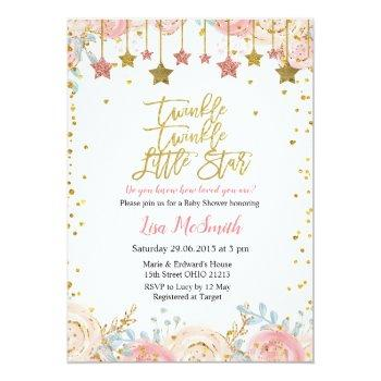 Floral Twinkle Twinkle Little Star Baby Shower Invitation