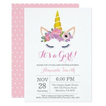 Floral Unicorn Baby Shower Invitation