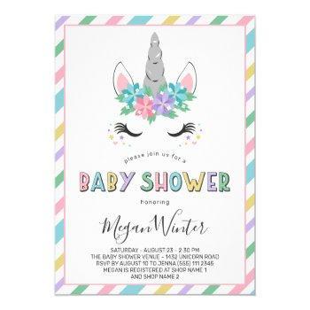 Floral Unicorn Pastel Baby Shower Invitation