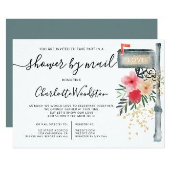 Floral Watercolor Cancelled Shower By Mail Box Invitation