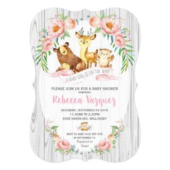Floral Woodland Animal Baby Shower Invitation Girl