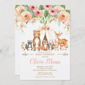 Floral Woodland Animals Baby Shower Forest Girl