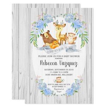 Floral Woodland Animals Baby Shower Invitation Boy