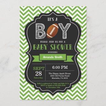Football Baby Shower Invitation Boy Green Chevron