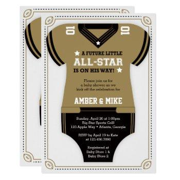 Football Baby Shower Invitation, Gold, Black Invitation