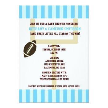 Football Baby Shower Invites Light Blue