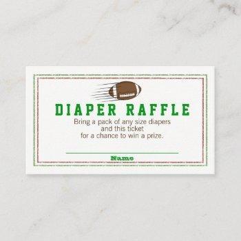 Football Diaper Raffle Tickets Enclosure Card