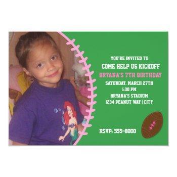 Football Pink Girl Birthday Party Photo Invitation