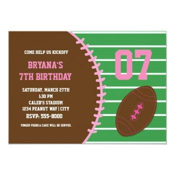 Football Pink Stitched Birthday Party Invitation
