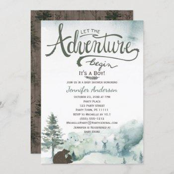 Forest Adventure Boy Country Bear Deer Baby Shower Invitation