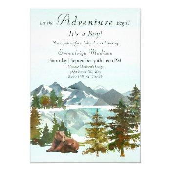 Forest Adventure Boy Rustic Bears Baby Shower Invitation