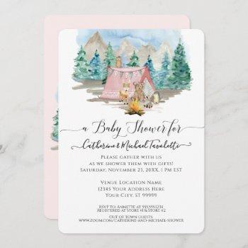 Forest Animals Deer Bear Floral Girl Baby Shower Invitation