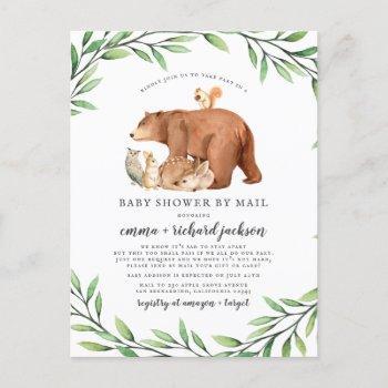 Forest Animals Gender Neutral Baby Shower By Mail Invitation Postcard
