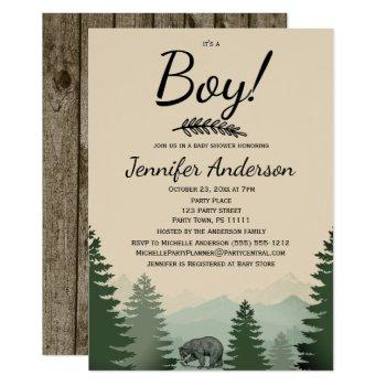 Forest Mountain Pine Country Bear Boy Baby Shower Invitation