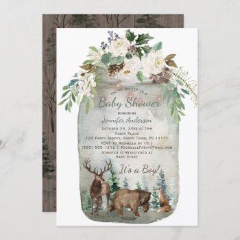 Forest Woodland Animals Mason Jar Baby Shower
