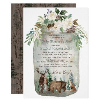 Forest Woodland Mason Jar Baby Shower By Mail Invitation