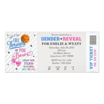 Free Throws Or Pink Bows Gender Reveal Ticket Invitation