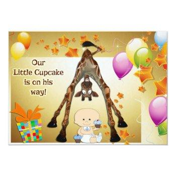 Funny Giraffe, Baby Boy And Cupcakes Baby Shower Invitation