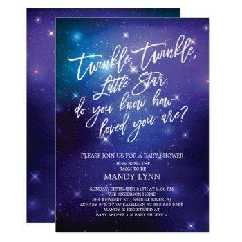 Galaxy Twinkle Twinkle Star Baby Shower Invitation