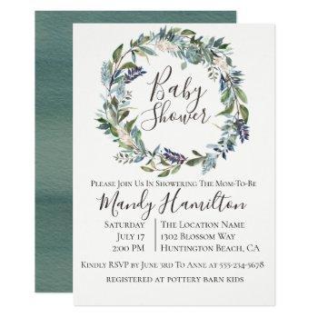 Garden Greenery Wreath Baby Shower Invitation