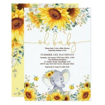 Garden Sunflowers Elephant Neutral Baby Shower Invitation