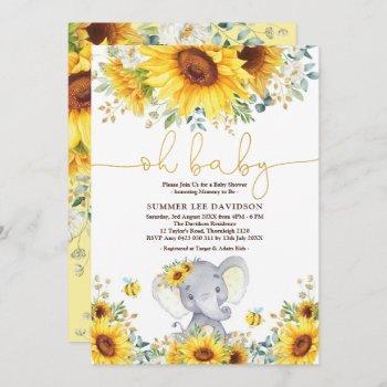 Garden Sunflowers Elephant Neutral Baby Shower Invitation