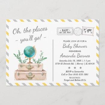Gender Neutral Adventure World Travel Baby Shower Invitation