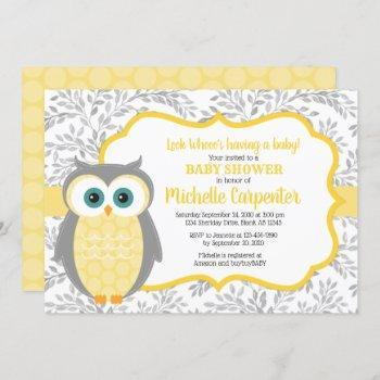 Gender Neutral Baby Shower Invitation Yellow Gray