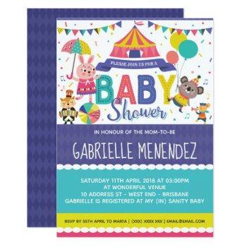Gender Neutral Circus Baby Shower Invitation