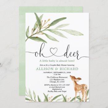 Gender Neutral Deer Woodland Couples Baby Shower Invitation