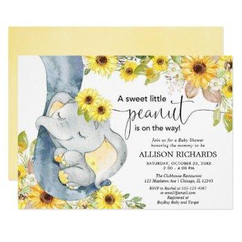 Gender Neutral Elephant Baby Shower Sunflowers Invitation