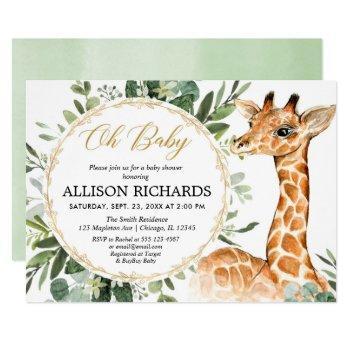 Gender Neutral Giraffe Greenery Baby Shower Invitation