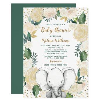 Gender Neutral Gold Greenery Elephant Baby Shower Invitation