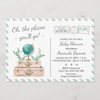 Gender Neutral Travel Adventure Mint Baby Shower Invitation