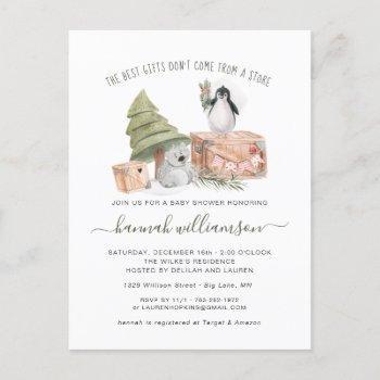 Gender Neutral   Winter Christmas Baby Shower Invitation Postcard