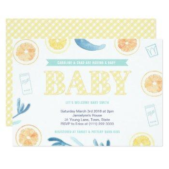 Gender Neutral Yellow Aqua Citrus Baby Shower Invitation