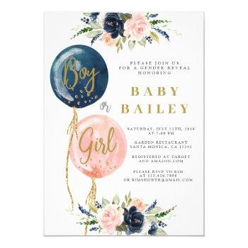 Gender Reveal Baby Shower Invitation, Balloon Baby Invitation