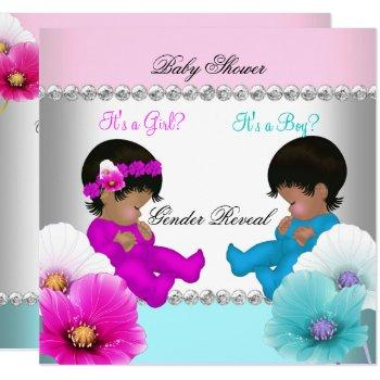 Gender Reveal Baby Shower Pink Teal Blue Flowers Invitation