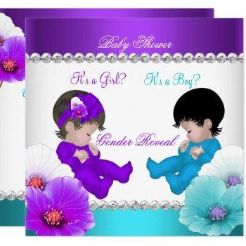 Gender Reveal Baby Shower Purple Teal Blue Br Invitation