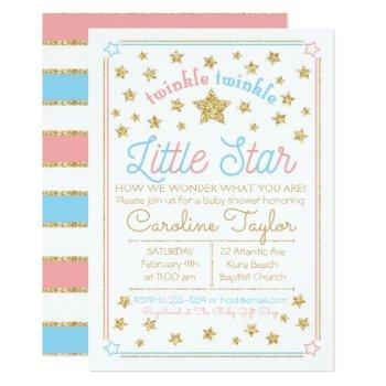 Gender Reveal Baby Shower Twinkle Little Star Invitation