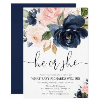 Gender Reveal Blush Pink Navy Blue Floral Elegant Invitation