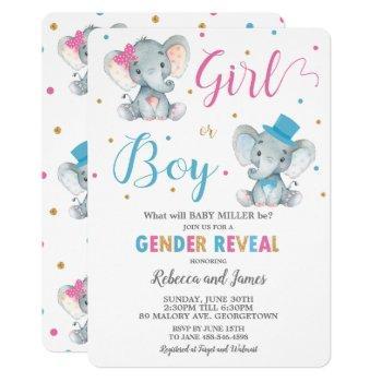 Gender Reveal Elephant Baby Boy Or Baby Girl Invitation