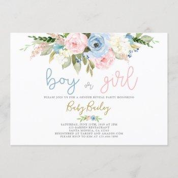 Gender Reveal Floral Invitation
