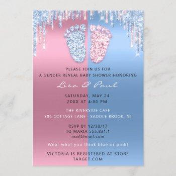 Gender Reveal Glitter Drippink Blue Baby Boy Girl Invitation
