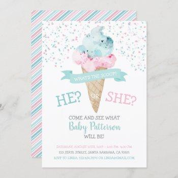 Gender Reveal Invitation Ice Cream Party